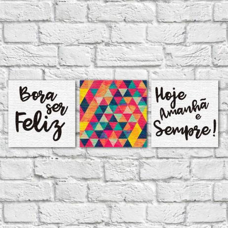 """Conjunto de Quadros Decorativos """"Bora ser Feliz"""" - Em Canvas"""