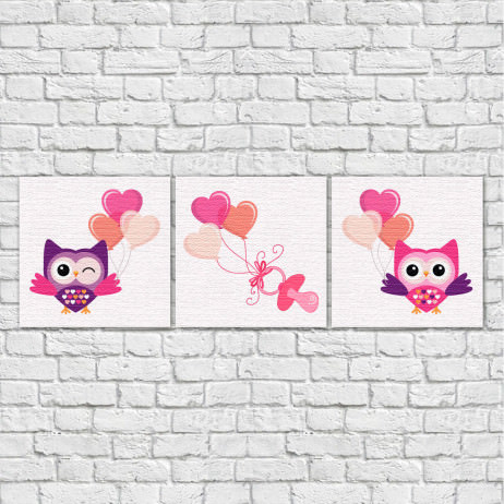 Conjunto de Quadros Decorativos Infantil Coruja, Chupeta e Balões - Em Canvas