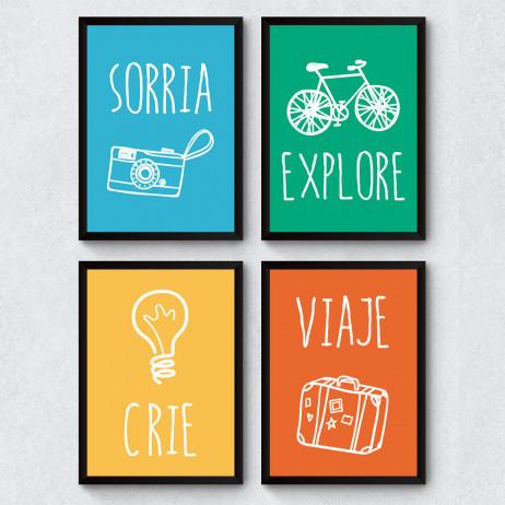 """Conjunto de Quadros Decorativos """"Crie, Viaje, Sorria e Explore"""""""