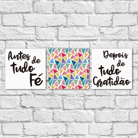 """Conjunto de Quadros Decorativos """"Antes Fé, Depois Gratidão"""" II - Em Canvas"""