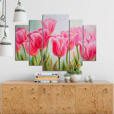 Conjunto de Quadros Decorativos Assimétrico Tulipas - Em Canvas