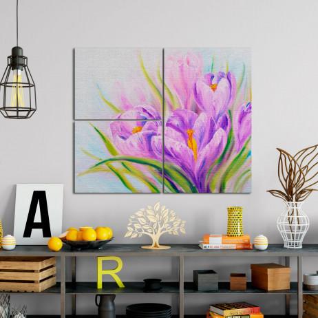 Quadros Decorativos Assimétrico Flor de Açafrão - Em Canvas
