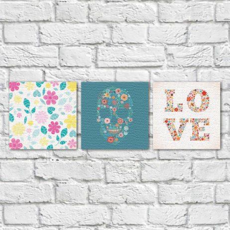 Conjunto de Quadros Decorativos Caveira Mexicana Love