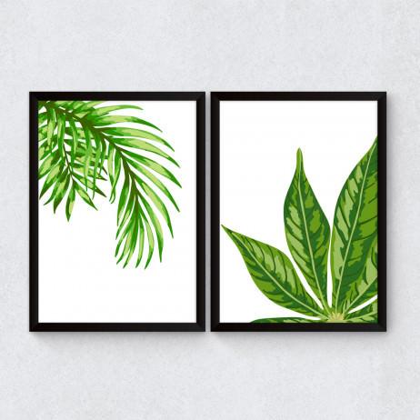 Conjunto de Quadros Decorativos Palmeiras Tropicais