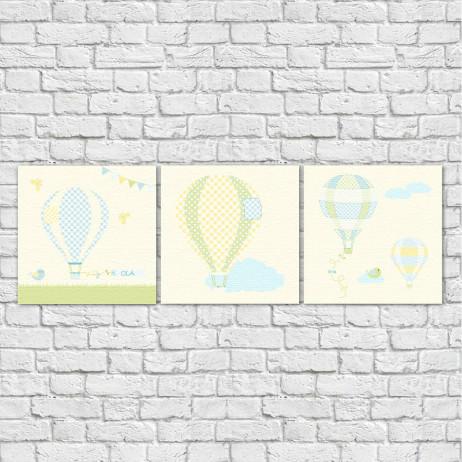 Conjunto de Quadros Decorativos Infantil Balões