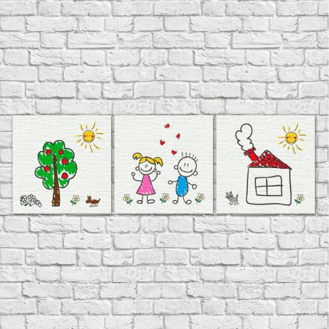 Conjunto de Quadros Decorativos Infantis Desenho de Crianças - Em Canvas