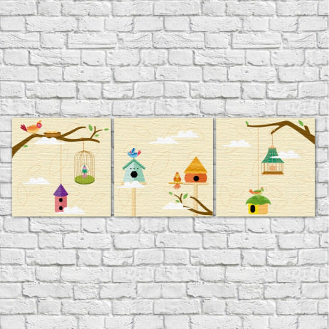 Conjunto de Quadros Decorativos Infantil Pássaros - Em Canvas