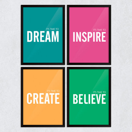 "Conjunto de Quadros Decorativos ""It's Time To Dream, Inspire, Create and Believe"""