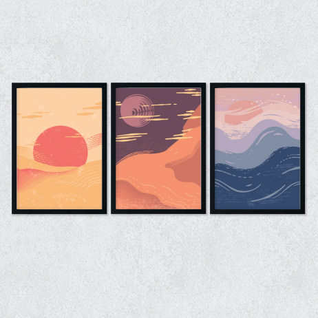 Conjunto de Quadros Decorativos Por do Sol Abstrato
