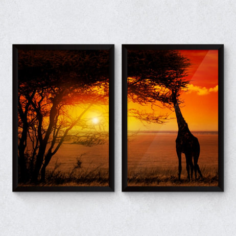 Conjunto de Quadros Decorativos Por do Sol - Savana