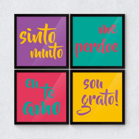 Conjunto de Quadros Decorativos Palavras Mágicas Colorido
