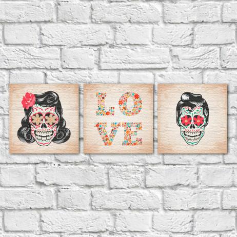 Conjunto de Quadros Decorativos Casal Caveira Mexicana