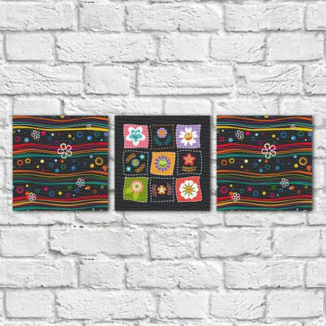 Conjunto de Quadros Decorativos Flores Infantis e Ondas