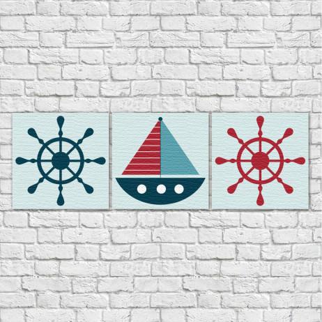 Conjunto de Quadros Decorativos Infantil Marinheiro - Em Canvas