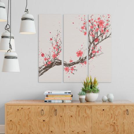 Conjunto de Quadros Decorativos Cerejeira - Em Canvas