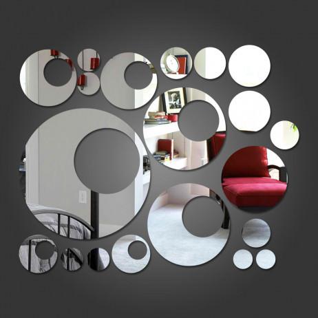 Espelho Decorativo Círculos e Bolas. Confeccionado em Acrílico Espelhado.