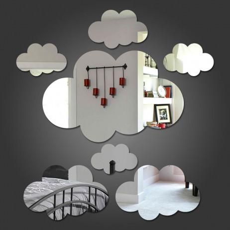 Espelho Decorativo Nuvens. Kit com 7 Nuvens. Confeccionado em Acrílico Espelhado