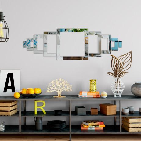 Espelho Decorativo Quadrados Abstratos Personalizáveis