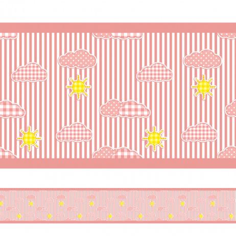 Faixa Decorativa Nuvens Listras Rosa