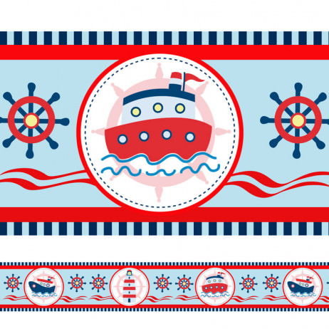 Faixa Decorativa Infantil Barco e Farol Marinheiro