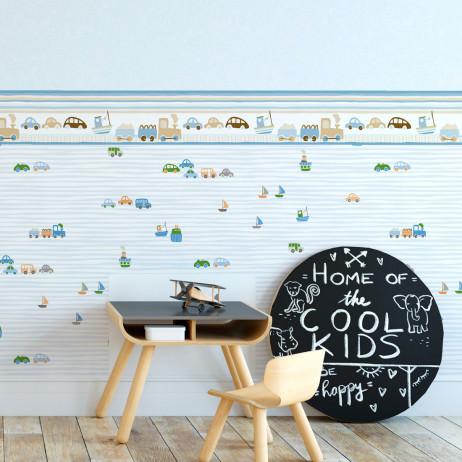Faixa Decorativa Infantil Trenzinho e Carros - Azul - Nido - Rolo com 5 Metros