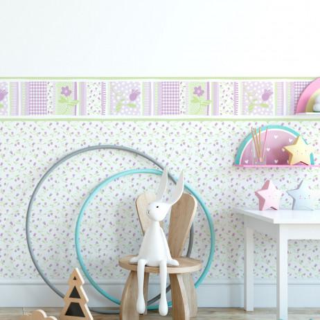 Faixa Decorativa Infantil Floral Delicado - Lilás - Nido - Rolo com 5 Metros