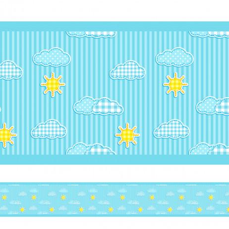 Faixa Decorativa Nuvens Listras Azul