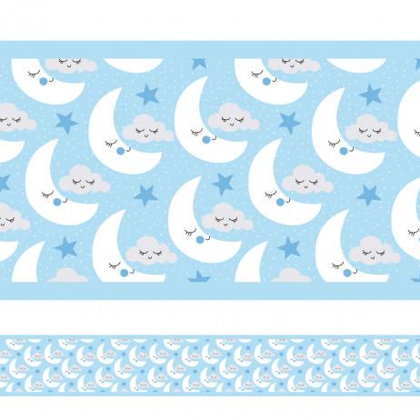 Faixa Decorativa Azul Lua Nuvens Estrelas