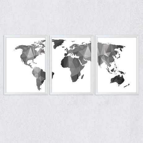 OUTLET - Conjunto de Quadros Decorativos Mapa Mundi