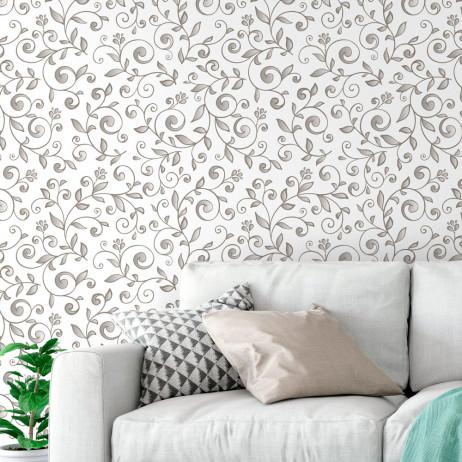 Papel de Parede Estampa Floral (Cinza)