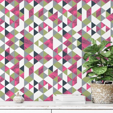 Papel De Parede Geométrico Triângulos Florais Pink