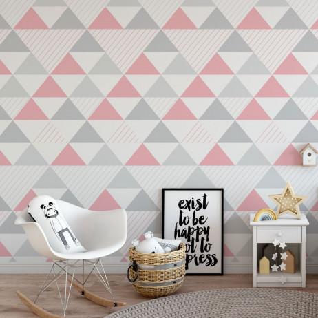 OUTLET - Papel de Parede Infantil Triângulos (Tons de Cinza e Rosa - Padrão Grande)