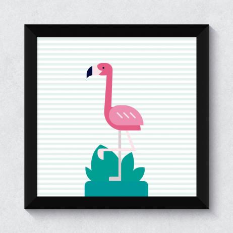 Quadrinho Decorativo Flamingo com Listras