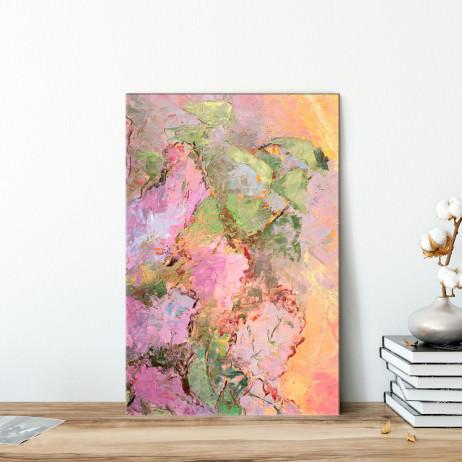 Quadro Decorativo Pintura Abstrata Pinceladas Rosa e Verde - Em Canvas