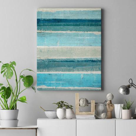 Quadro Decorativo Arte Moderna Listras Azuis - Em Canvas