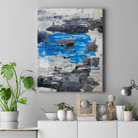 Quadro Decorativo Abstrato Manchas de Tinta Azul e Cinza - Em Canvas