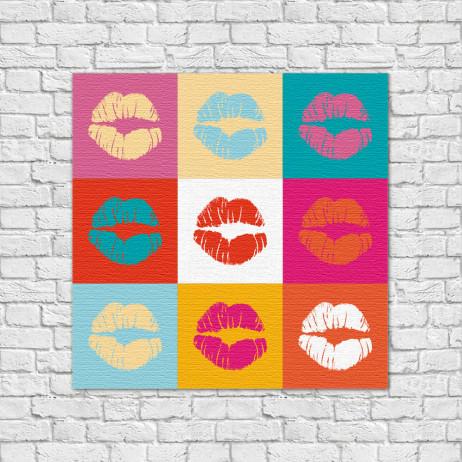 Quadro Decorativo Beijos Coloridos - Em Canvas