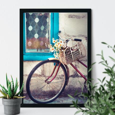 Quadro Decorativo Bicicleta Retrô Margaridas