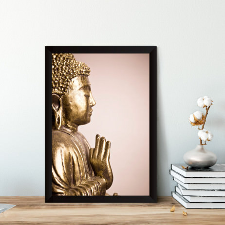Quadro Decorativo Buddha Dourado Vitarka Mudra