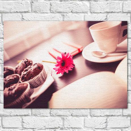 Quadro Decorativo Café com Flor - Em Canvas