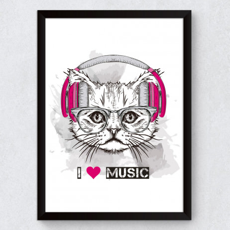 Quadro Decorativo Cat I Love Music
