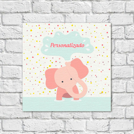Quadro Decorativo Infantil Elefante com Nome Personalizado - Em Canvas