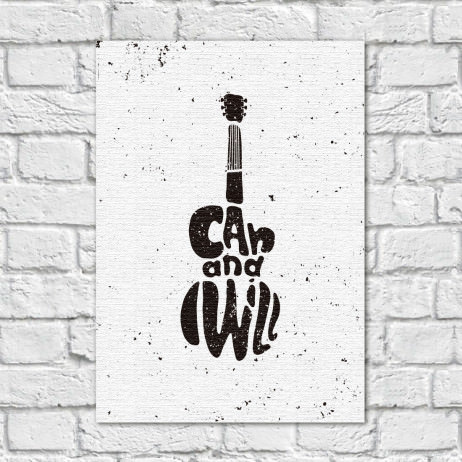 Quadro Decorativo Guitarra I Can and Wiill - Em Canvas