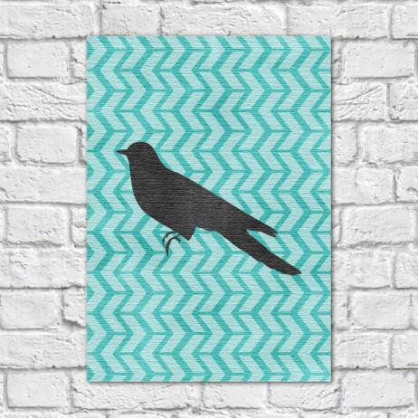 Quadro Decorativo Pássaro Fundo Abstrato Azul - Em Canvas