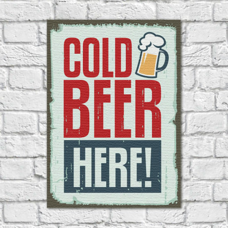 Quadro Decorativo Vintage Cold Beer Here - Em Canvas