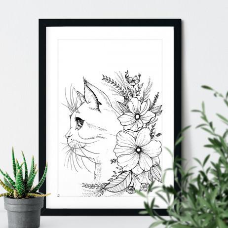 Quadro Decorativo Gato Floral