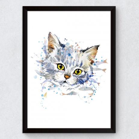 Quadro Decorativo Gato Branco Aquarela