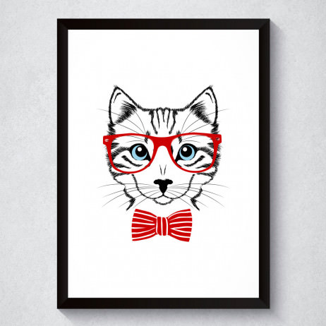Quadro Decorativo Gato De Óculos