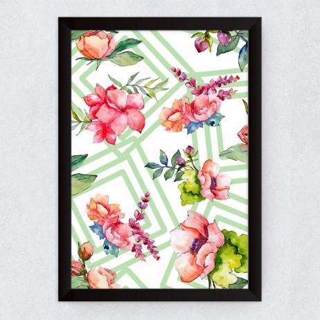 Quadro Decorativo Geométrico Floral