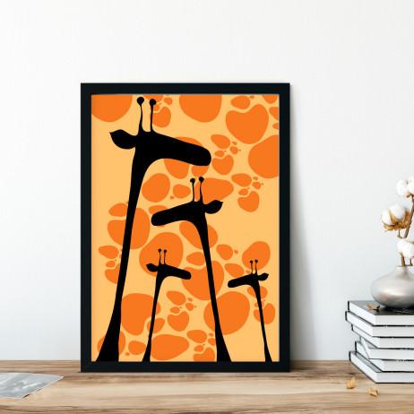 Quadro Decorativo Girafas Silhuetas